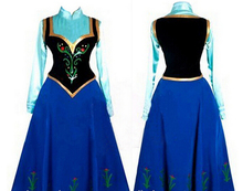 2015 Snow Queen Princess Anna Made Cosplay Costume For Adult Womens With Cloak Coronation Dress Plus Size