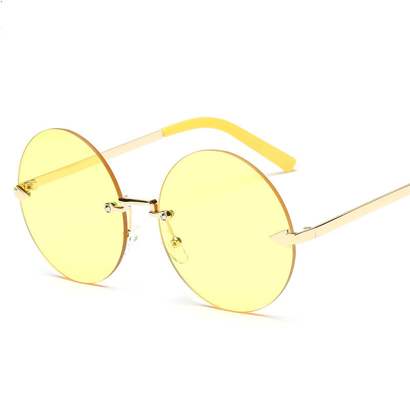 silver 2018 pink Rotondo Della Da Sole Progettista yellow Per Retro A Solido Colore Femminile Lega Le Gray Donne Del Specchio Marca Di Occhiali rrwq1RFp