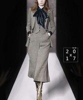 Осень зима высокой моды 4 шт. для одного набора Для женщин OL Костюмы бархатная блуза и жилет и блейзер и широкие брюки брючный костюм комплек