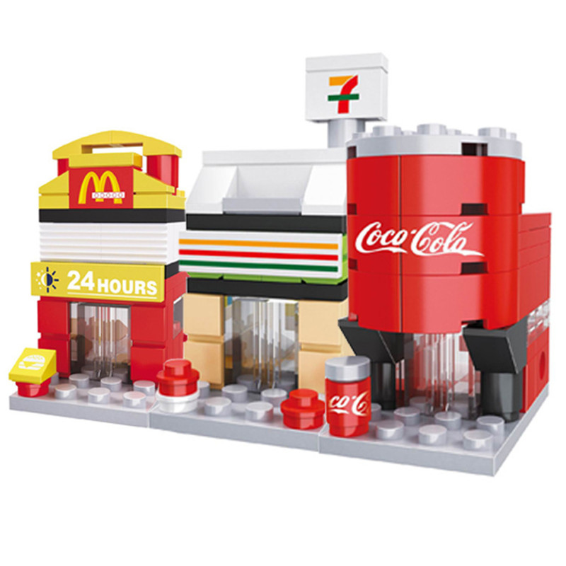 Building Blocks Mini Street City 3D Retail Store Model Shop McDonald Cafe Apple Architecture Classic Toy Compatible Legoedly