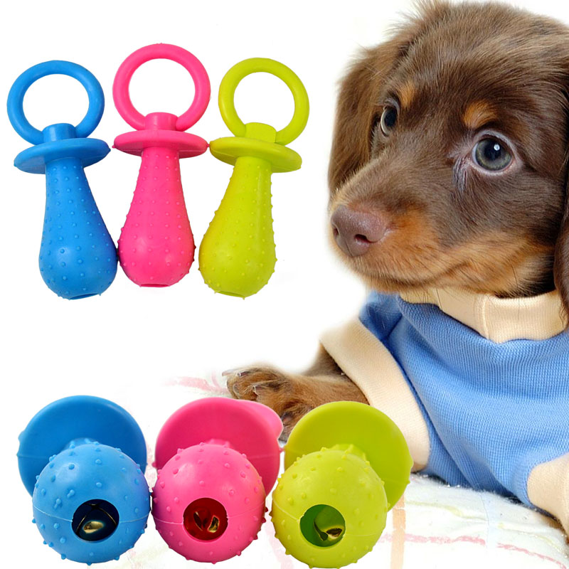 Durable Pet Chew Toy Bell Sound Soft Rubber Pacifier for
