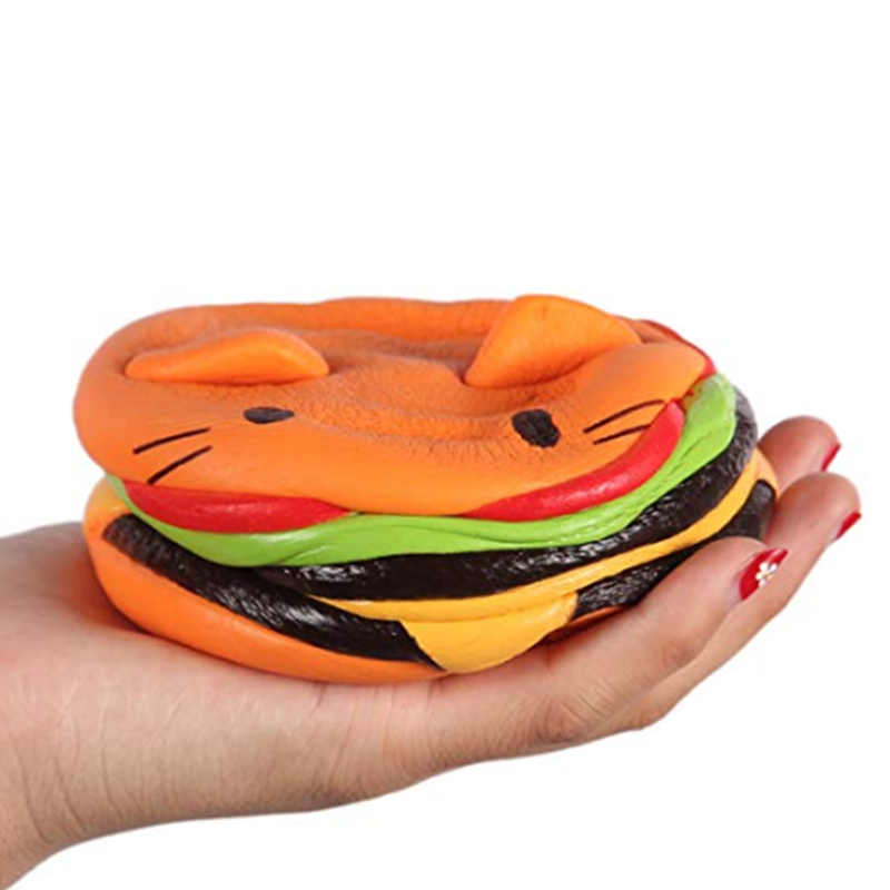 Jumbo chat visage Burger spongieux simulé pain PU parfumé doux lent croissant compression jouets soulagement du Stress bébé enfant jouet cadeau de noël