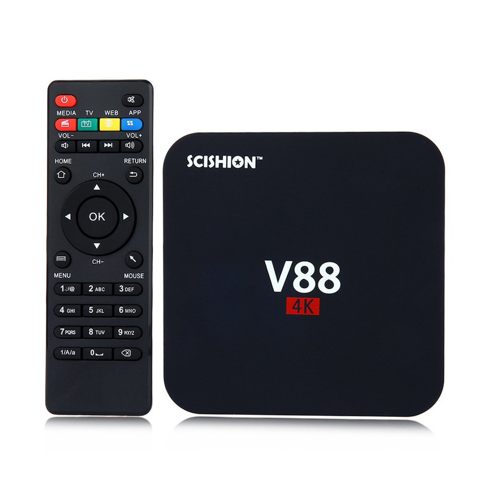 SCISHION V88 4K Android 5.1 Smart TV Box Rockchip 1G RAM 8G ROM Quad Core 4 USB WiFi Full Loaded 1.5GHZ HD Media Player