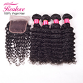 4 bundles brazilian virgin hair with closure Deep Wave,Unprocessed virgin hair with closure bundle 10-20 Human Hair lace closure