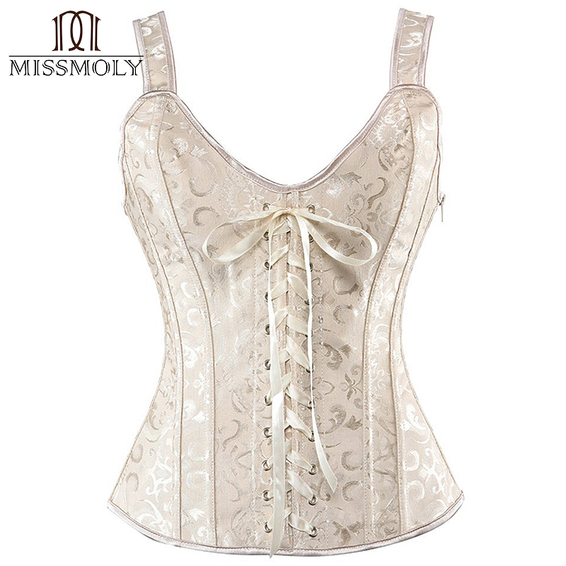 Women's Steampunk Gothic Sexy Lingerie   Bustier     Corset   Zip Brocade Boned Lace up Back Waist Trainer Cincher   Corsets   and   Bustiers