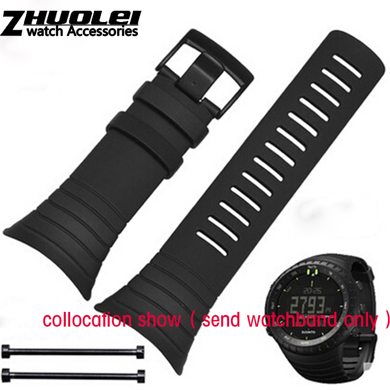 new arrivals watchband For SUUNTO CORE 35mm Black Men Watch Strap Waterproof rubber Strap Watch Band+Screwbars+Black PVD Buckle 100pcs 0603 exclusion 8p4r exclusion 100k 0603 4 5