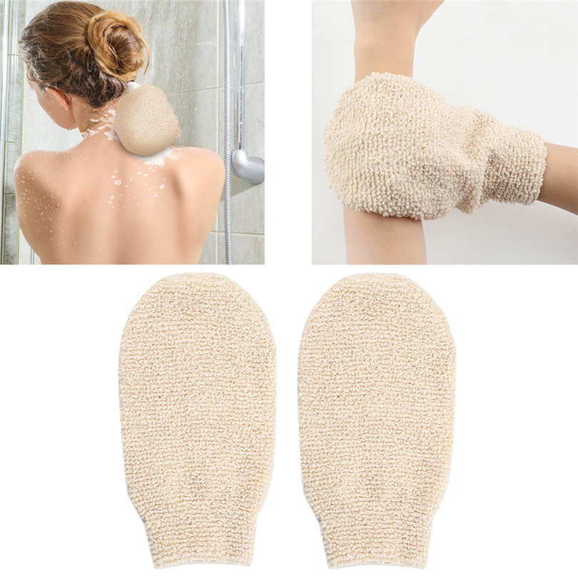 1Pair Shower Gloves Exfoliating Wash Skin Spa Bath Gloves Natural Bamboo Fiber Bath Exfoliating Scrubber Washcloths (1)