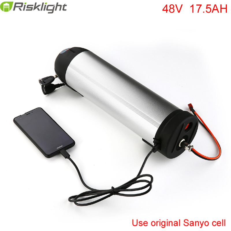 E-bike Battery 48V 20AH Sanyo cell Lithium Bottle Battery Pack with USB port fit 48v bafang 8fun 750w 500w bbs01 bbs02 motor free customs taxes super power 1000w 48v li ion battery pack with 30a bms 48v 15ah lithium battery pack for panasonic cell