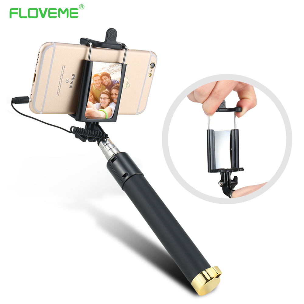 Wired Handheld Selfie Stick Monopod With Mirror Mini Fashion Self-timer For iPhone 6 6S Plus For Samsung Xiaomi Huawei Monopod led flash fill light selfie stick with rear mirror lighting bluetooth monopod for iphone x 8 samsung huawei xiaomi android phone