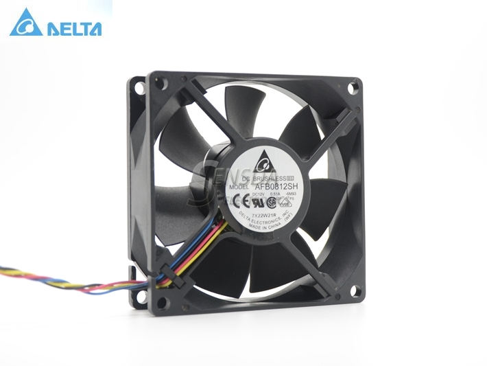 Delta AFB0812SH 8025 8cm 80mm 12V 0.51A  Dual ball fan power supply chassis Cooling Fan 4 Pin Pwm fan original delta afb0912shf 9032 9cm 12v 0 90a dual ball bearing cooling fan
