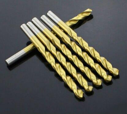 10PCS 0.5mm-5.0mm High Speed Steel Titanium Coated Straight Shank Twist Drill Bits For Metal (1mm/1.5mm/2mm/2.5mm/3mm/4mm/5mm)