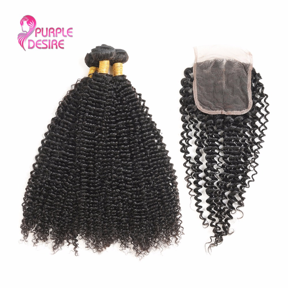Malaysian Kinky Curly Hair With Closure 3 Bundles 100g Human Hair Non Remy Hair Weave with Free/Middle/Three Part Lace Closure