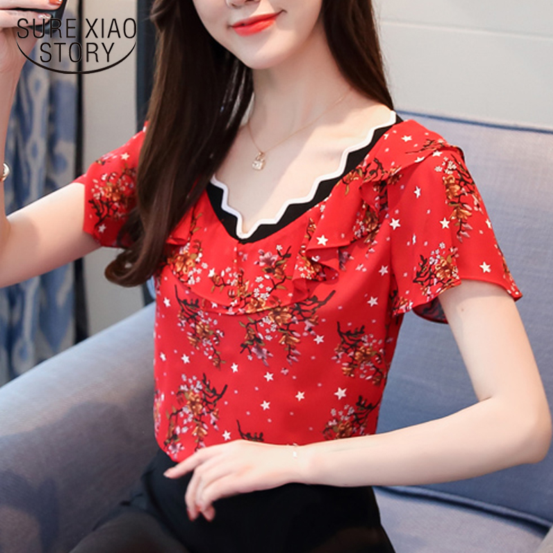 New 2018 Summer Fashion Sweet Women   Blouses     Shirts   Floral   Shirts   Short Sleeve Red Black Ruffles Printed Lady Tops Blusas 0379 30