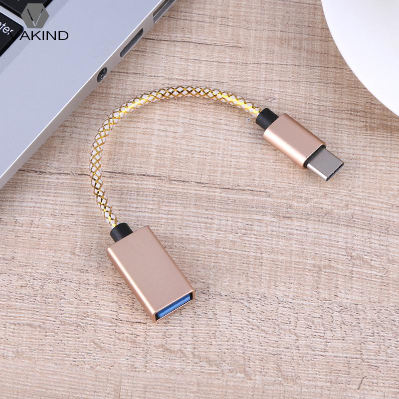 15cm Type-C Male to USB 3.0 Female Adapter Cable Typc C to USB M/F Data Charge Cord Nylon Braid Wire Line for MacBook Tablet PC