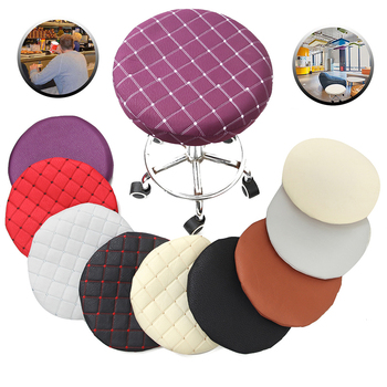 Round Chair Cover Bar Stool Solid Color Elastic Seat Protector Cotton Fabric Seat Chair Covers for