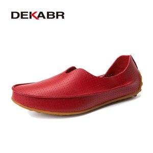 Image 5 - Dekabr oco para fora respirável novo 2020 verão split couro de alta qualidade moda sapatos casuais amantes dos homens casal sapatos flat loafer