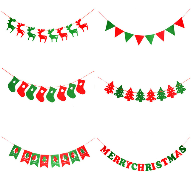 DIY Non-woven Fabric Xmas Flags Merry Christmas Banners Santa Clause Floral  Bunting Decoration Home 66d3a79b00ca