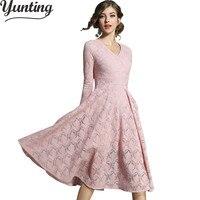 Otoño Invierno vestido Encaje Hollow out manga larga casual ropa mujeres elegante Slim vintage vestido de trabajo vestidos