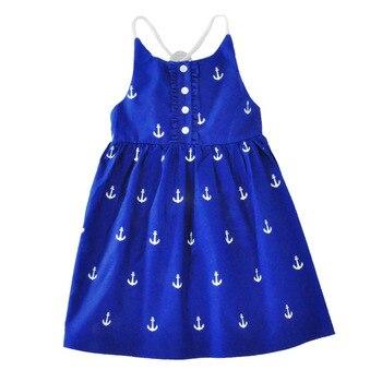 2018 Summer Baby Girls Dresses Anchor Print Blue Sundress for Girls Beach Holiday Children Dress Kids Clothes Vestido
