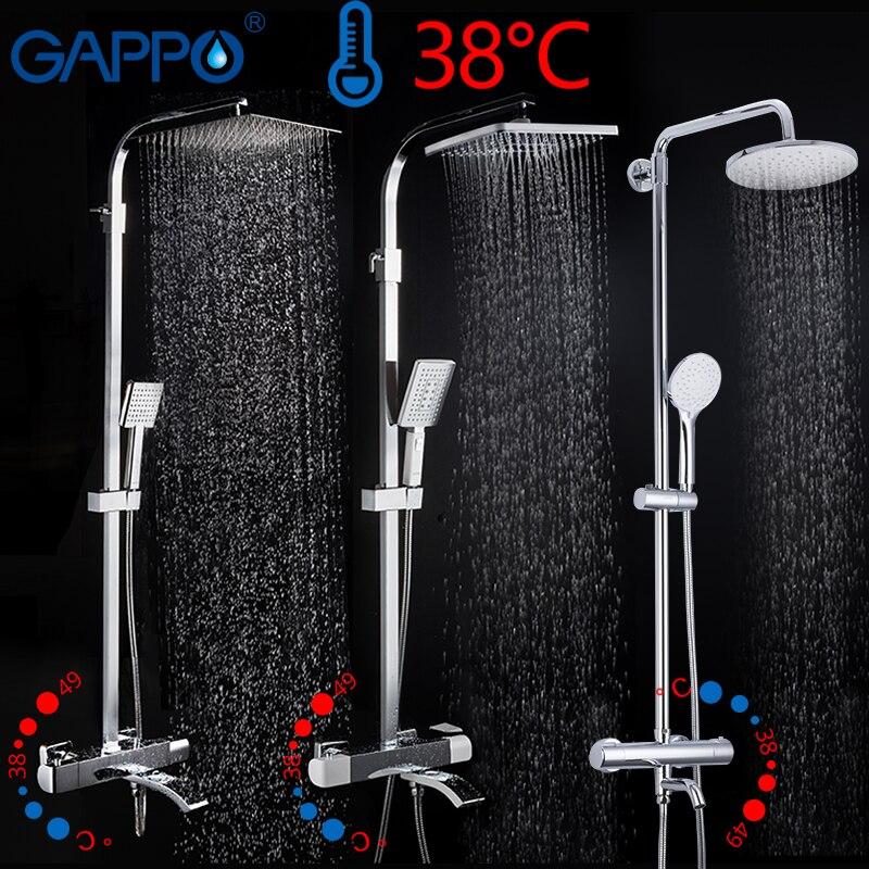 GAPPO chuveiro termostática rain shower set torneira do chuveiro torneira quente e fria Do Chuveiro preto torneira da Banheira misturador do chuveiro termostática