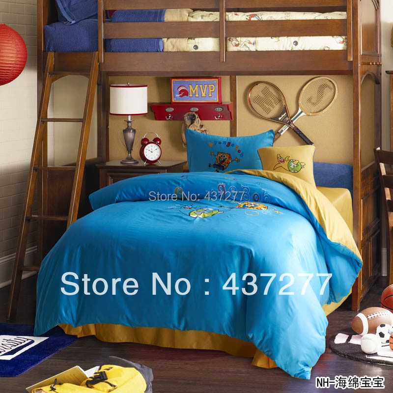 kids blue yellow bed sets for queen full twin beds cotton cartoon branded  bedding textil teen. Online Get Cheap Twin Bed Bedding for Boys  Aliexpress com