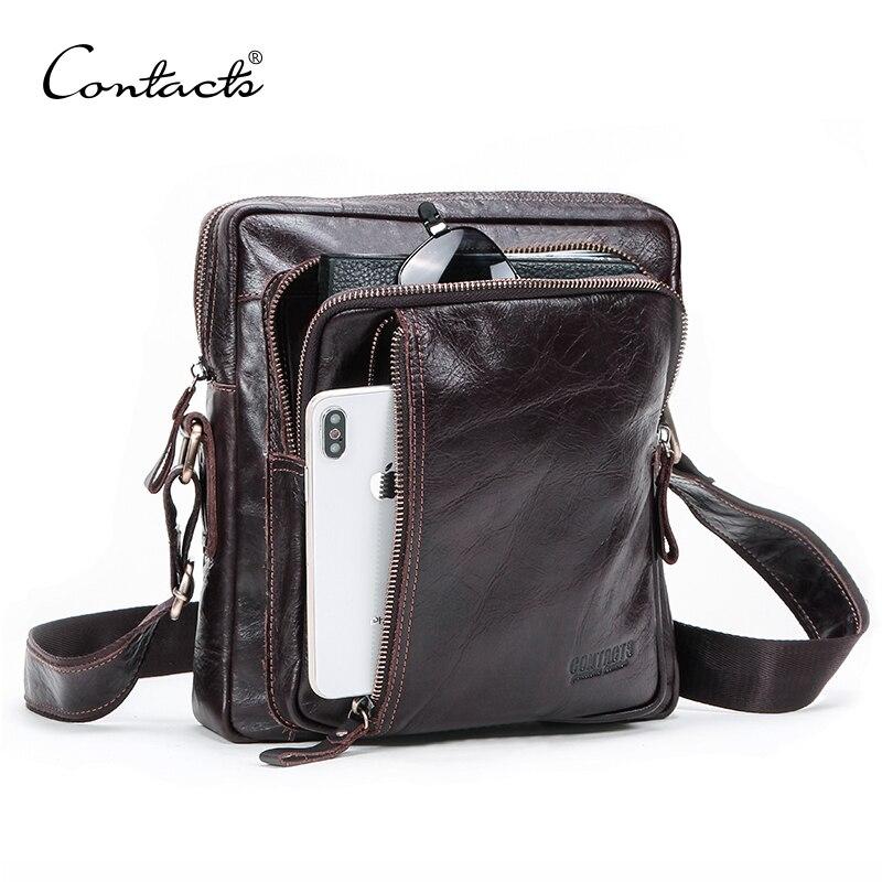 CONTACT'S prawdziwej skóry torba na ramię dla mężczyzn lato w stylu vintage torba na ramię zamek męskie biznesowe torby listonoszki dla 9.7in ipad na  Grupa 1