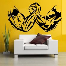 Gym Sticker Fitness Decal Body-building Arm Wrestling Posters Vinyl Wall Decals Pegatina Quadro Parede Decor Mural Gym Sticker