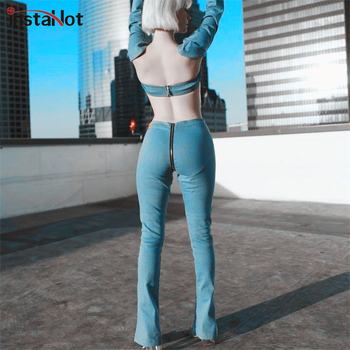 InstaHot Light Blue Back zipper Wide Leg Jeans Women Push Up Sexy Thin Slim Pants Female Summer Autumn Stretch Vintage Hot Sale Брюки