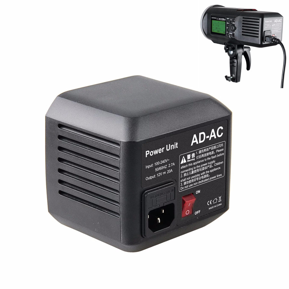Godox AD600 AD-AC 100-240V Power Source Adapter with Cable for AD600B AD600BM AD600M AD600 With LED Video light Lighting Lamp godox ad600 ad ac 100 240v power source adapter with cable for ad600b ad600bm ad600m ad600 with led video light lighting lamp