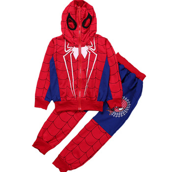 цена на Boys Clothing Sets Children Tracksuit Spiderman 2 Pcs/Set Kids Fashion Hooded Coat Tops And Pant Suit Boys Cartoon Clothes