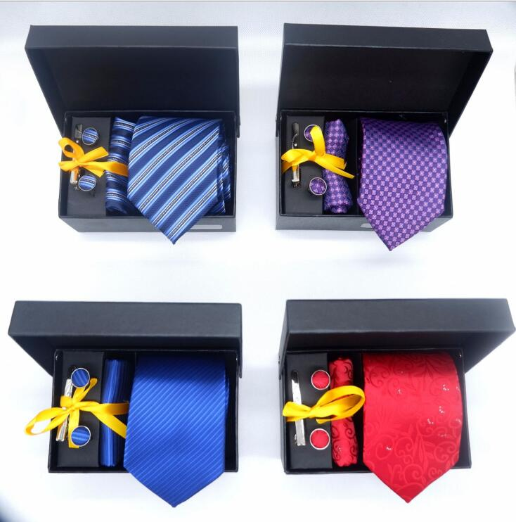 New business suit tie creative Tie Suit gift box polyester dyed tie pocket scarf cuff links in 2019