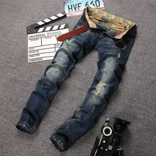 Fashion Ripped Jeans Men Fashion Brand Clothing Plus Size Hole Straight Slim Men Jeans Casual Style Full Length Skinny Pants
