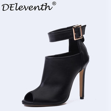 DEleventh New Design Women Chelsea Boots Black Peep Toe Thin High Heels Shoes Spring Autumn Woman Ankle Strap Ladies Boots 35-40