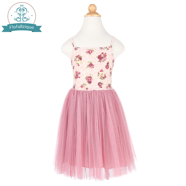 23485e360afd3 US $16.99 |Flofallzique Toddler Girls Tulle Ball Gown Christmas Dress  Summer Vintage Floral Party Princess kids dresses for girls clothes-in  Dresses ...