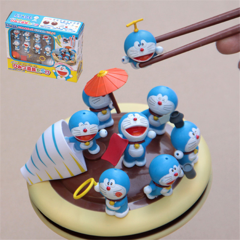 Hot 3-4cm Funny Doraemon Mini Figures Pick Piled Balance Game Chopsticks Practice Action Figure Toy Collection Model Toy for Kid hot board game camel up funny game for 2 8 players party family game