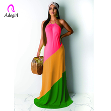 Adogirl Color Block Mermaid Evening Party Club Dress Elegant Women Halter Neck Off Shoulder Beach Maxi Dress Robe Long Vestidos цена 2017