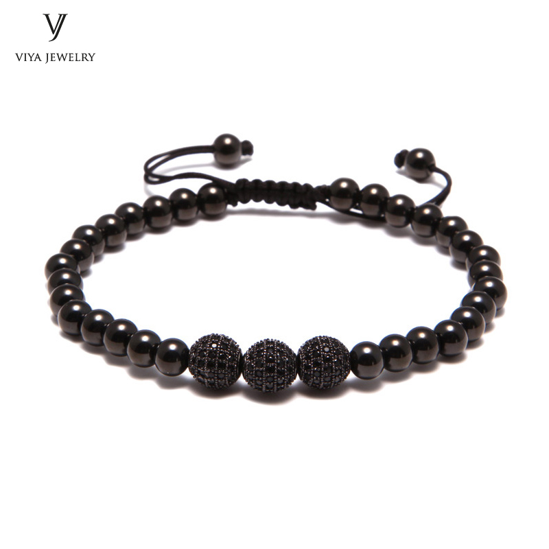 2016 New Waterproof Black Beads Macrame Bracelets For Men/Women High-end CZ Beads Braided Bracelet For Watch Boho Men Jewelry new anil arjandas macrame bracelets 18pcs rose gold micro pave black cz stoppers beads braiding macrame bracelet for men jewelry