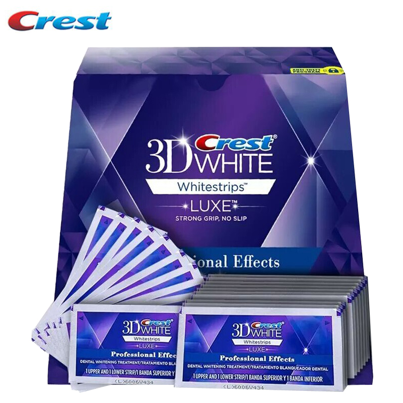 Crest 3D White Whitestrips Teeth Whitening Oral Hygiene LUXE Professional Effects Dental Care Original 40Strips 20Pouches20days 10 pouches crest teeth whitening strips advanced vivid 3d white original oral hygiene tooth whitestrips no box free shipping