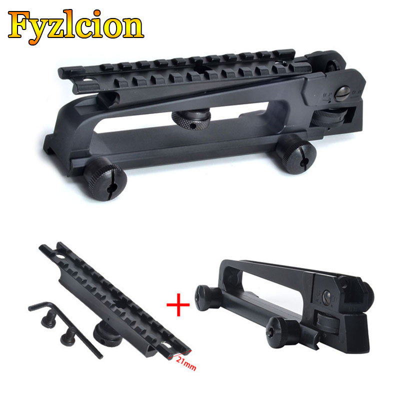 M4 M16 AR15 Detachable Carry Handle And Rear Sight W/ See Through Picatinny Rail Mount Combo