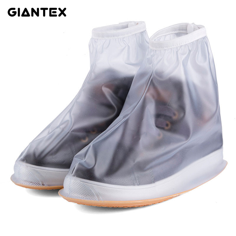 GIANTEX Men Women's Rain Waterproof Flat Ankle Boots Cover Heels Boots Shoes Covers Thicker Non-slip Platform Rain Boots S0154