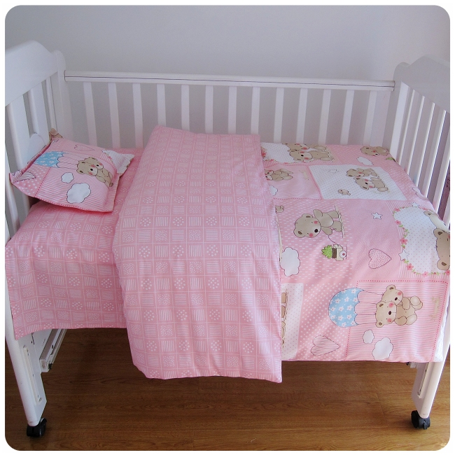3 Pcs Baby Bed Set 100% Cotton Lovely Baby Bedding Set Twill Cartoon Images Quilt Cover Bed Sheet Pillow Case Baby Crib Bedding lamp folding wall flex led edison industrial retro loft light vintage dining room bar edison vintage bedroom dining room