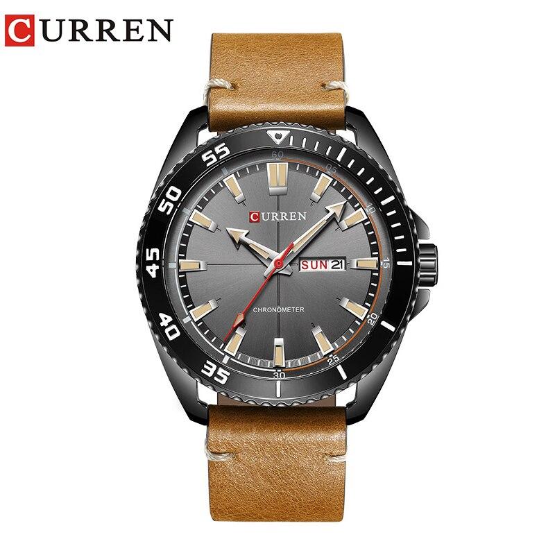 2017 new CURREN 8272 Top Brand Luxury watch men date display Fashion Leather Quartz Wrist Watches relogio masculino