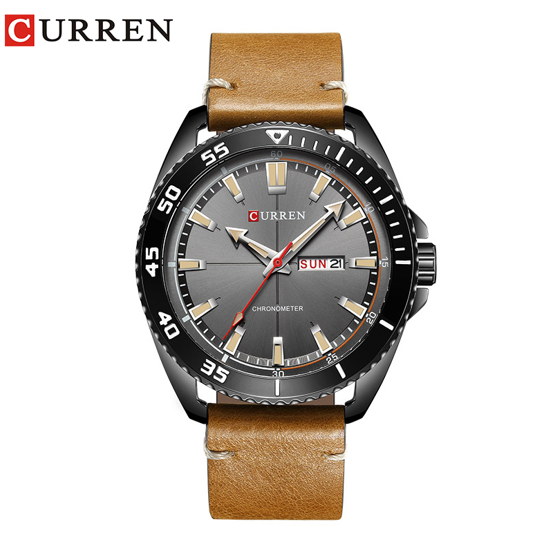 2017 nueva CURREN 8272 reloj hombres fecha display de Cuarzo de Cuero de Moda de Primeras Marcas de Lujo Relojes de Pulsera relogio masculino