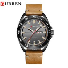 купить CURREN 2017 new Top Brand Luxury watch men date display Fashion Leather Quartz Wrist Watches relogio masculino по цене 1093.55 рублей