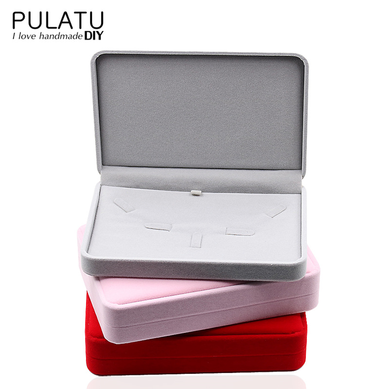 Jewelry Set Display Packaging Rectangle Gift Boxes Ring Earring Necklace Velvet Materials Wedding Birthday Holder Jewellery Box