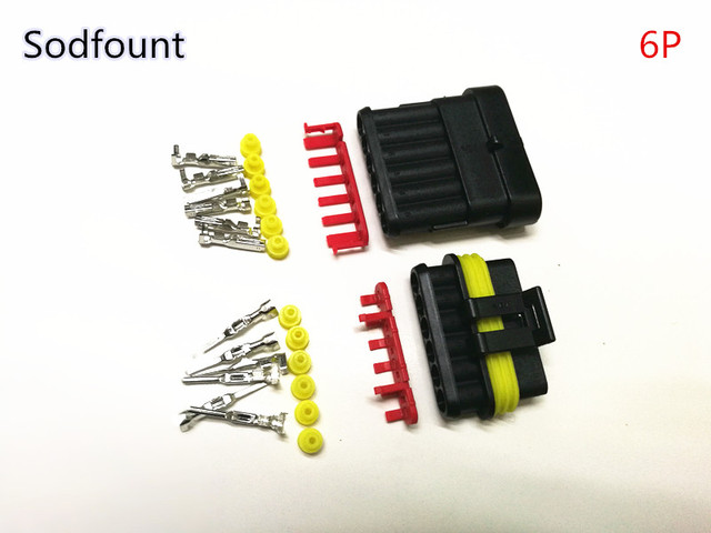 5 sets Kit 2 pin 1/2/3/4/5/6 pins Way AMP Super seal Waterproof Electrical Wire Connector Plug for car