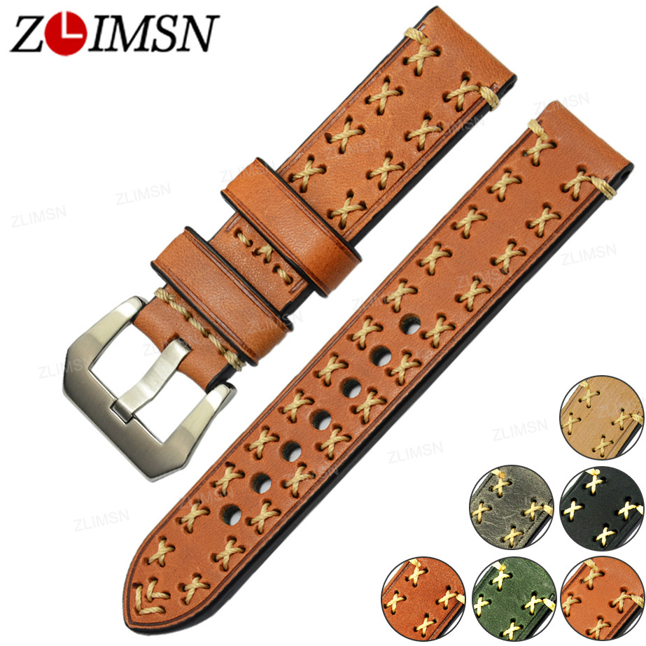 ZLIMSN Genuine Leather Watch Bands 20 22 24 26mm Strong Stitched Belt 316L Stainless Steel Buckle Silver Brushed Black Polished zlimsn genuine leather watchbands black brown yellow thick watch band strap belt stainless steel buckle brushed 20 22 24 26mm