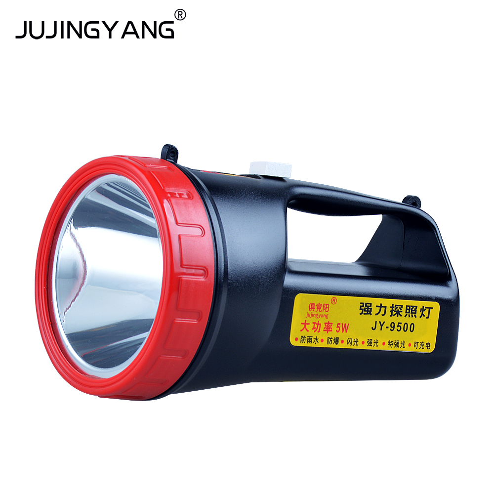 JY-9500 powerful charging searchlight, 5W high-power light, LED patrol outdoor waterproof flashlight gift box cree q5 high power led flashlight waterproof searchlight rechargeable patrol lights 18650 battery charger outdoor light