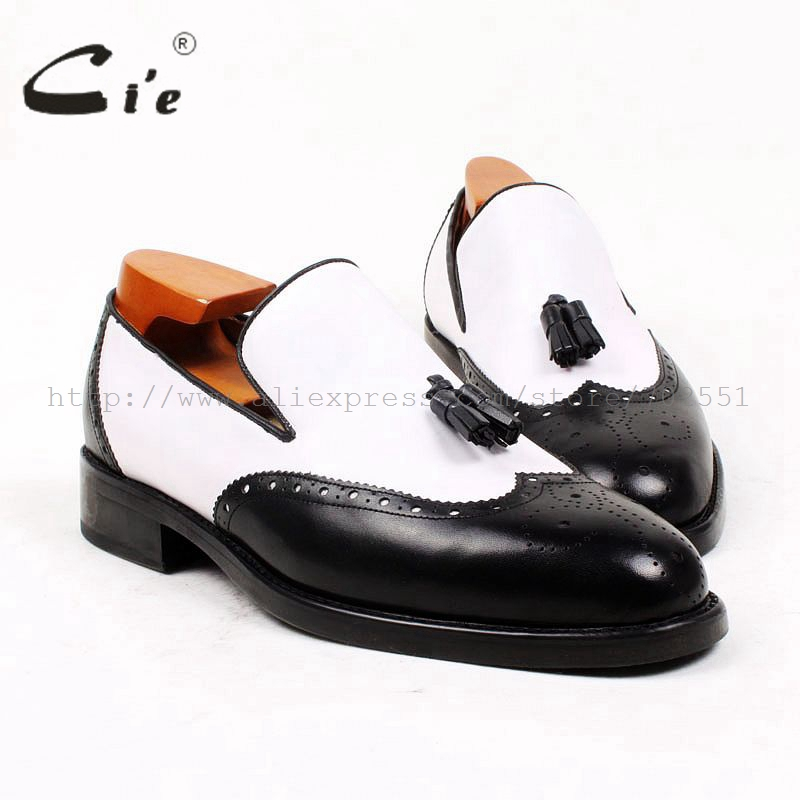 cie Round Toe Black White Tassels Slip-on 100%Genuine Calf Leather Outsole Breathable Bespoke Leather Men Shoe Handmade loafer69 cie free shipping handmade tassels buckle loafer brown white matching calf leather bottom outsole men shoe 3 crafts loafer66