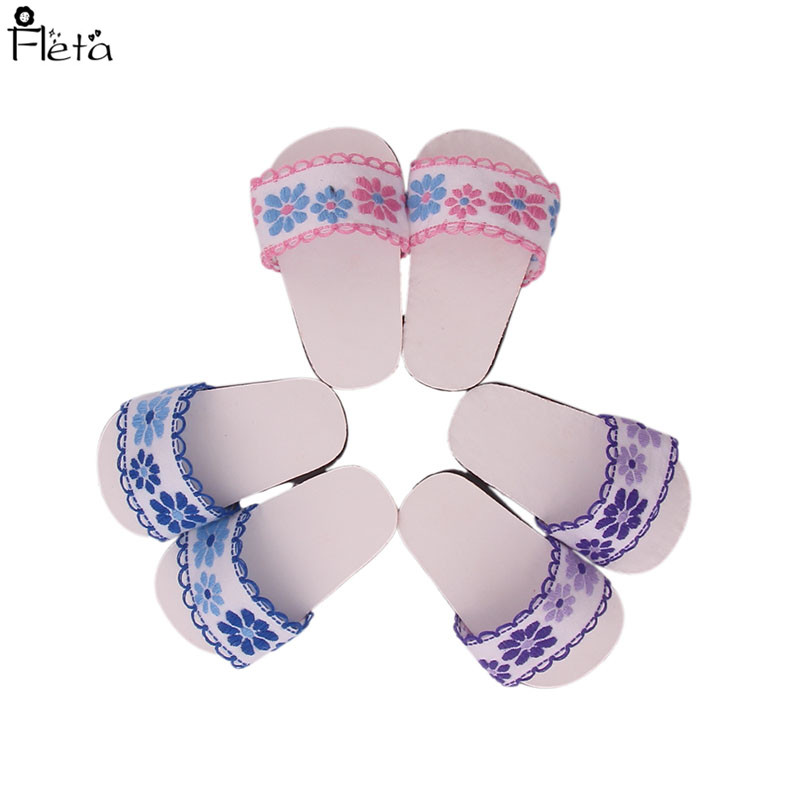 Fleta Free shipping 6style Embroidered slippers  for 18inch american doll accessories Christmas gift